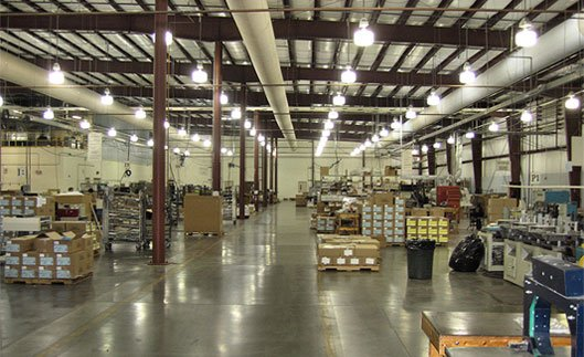 Interior of warehouse at Plouse Precision Manufacturing
